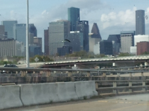 Houston, seen through a very dirty windshield.